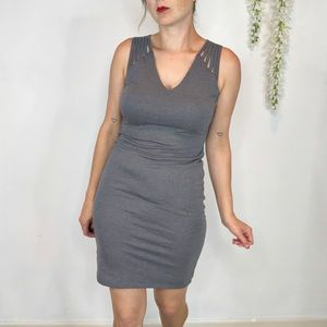 NWT BAR III gray bodycon dress multi strap 1141
